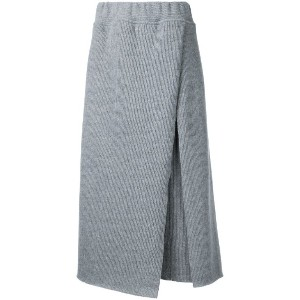 Osakentaro - ribbed detail skirt - women - ウール - M