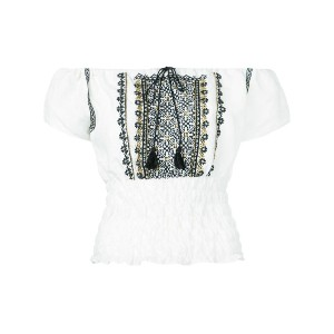 Ne Quittez Pas - embroidered off the shoulder top - women - コットン/リネン - ワンサイズ