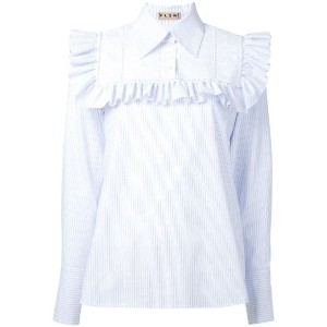 Flow The Label - ruffled detail striped shirt - women - コットン/ポリエステル - L