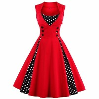 S-4xl Women Robe Pin Up Dress Retro 2017 Vintage 50s 60s Rockabilly Dot Swing Summer