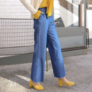 送料 0円★PPGIRL_9577 Zipper denim pants / wide pants / jeans / denim slacks / waist band pants