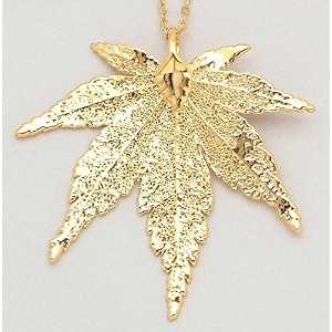 24 K Gold Dipped Japanese Maple Leaf with金メッキチェーン