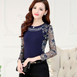 New High Quality Womens plus size lace blouse shirts ladies long sleeve slim Lace patchwork Tops
