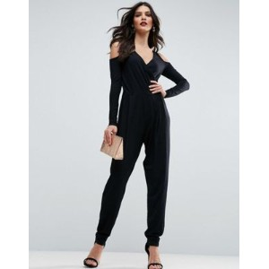 【ポイント2倍!5/25 1:59まで】ASOS エイソス Cold Shoulder Wrap Jumpsuit in Jersey