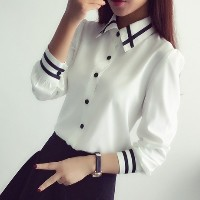 Spring Korean Occupation Slim Slim Female Striped Long Sleeved Shirt Size Shirt White Shirt Blouse