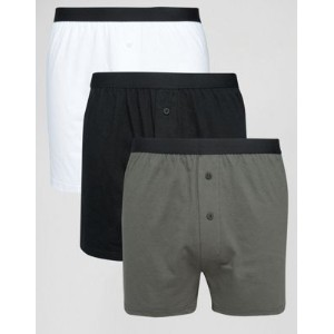 【ポイント2倍!5/29 9:59マデ】ASOS エイソス Jersey Boxers In Monochrome 3 Pack SAVE