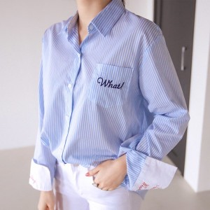 送料 0円★PPGIRL_9776 What embroidery shirt / wide cuffs shirt / casual / shirt blouse / loose fit