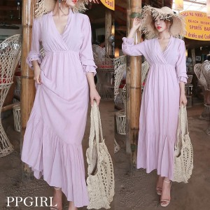 送料 0円★PPGIRL_9713 Margaret long dress / frill / maxi dress / long beach dress / shirring / romant