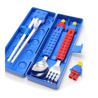 Brick Figure Spoon Fork Training Chopsticks and Case set for Toddler Kid Children (Blue)(Red)