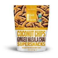 Organic Made in Nature, Coconut chips Supersnack (ジンジャー マサラ チャイ味) 3oz【訳あり/賞味期限 2018年2月23日まで】
