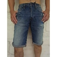 "G-STAR RAW[ジースター]【3301 1/2-LENGTH SHORT】MEDIUM VINTAGE AGED RESTORED 114""リペア—加工""5-POCKET Short★"
