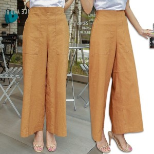 送料 0円★PPGIRL_9838 Linen wide pants / slacks / wide fit slacks / long pants / waist band pants