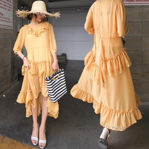 送料 0円★PPGIRL_9612 mango yellow dress / chiffon dress / long dress / maxi dress / frill / shirring