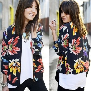 Black Floral Rib Detail Bomber Jacket