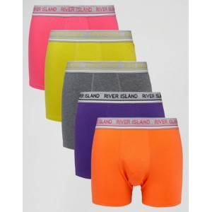 River Island Trunks In Bright Multi Colours 5 Pack