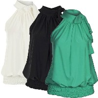 Women Ladies Pleated Coloured Halter Neck Ruched Sexy Top Blouse Hot Party Plus Size Sleeveless Bagg
