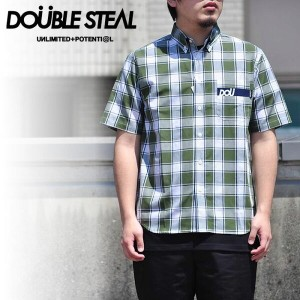 DOUBLE STEAL ダブルスティール シャツ DOU POCKET CHECK B.D SHIRT 半袖 ストリート 772-35003