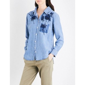 レイルズ rails レディース トップス カジュアルシャツ【claudette floral-embroidered denim shirt】Floral embroidery