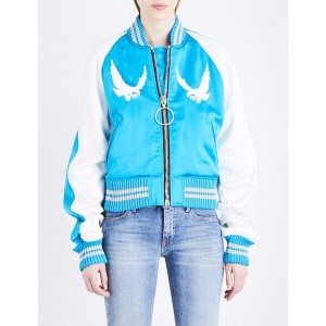 オフホワイト off-white c/o virgil abloh レディース アウター ジャケット【souvenir satin bomber jacket】Blue white