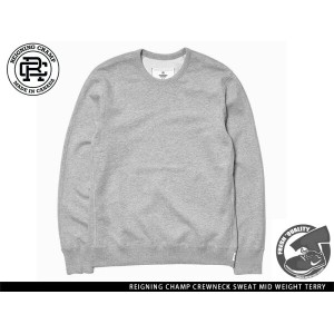 """Handcrafted in Canada"" REIGNING CHAMP CREWNECK SWEAT MID WEIGHT TERRY HEATHERGREY レイニング チャンプ..."
