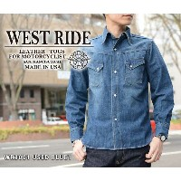 "【WESTRIDE/ウエストライド】長袖シャツ/WR3001 USED BLUE1 ""USED WASH""★REALDEAL"