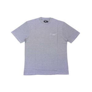 STUSSY MINI STRIPE S/S POCKET T-SHIRTS (WHITE×BLACK)ステューシー/T-シャツ/白×黒