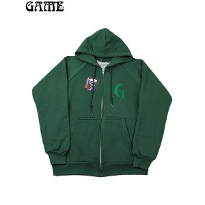 "【送料無料】【即納】GAME / ""G"" LOGO CAMBER ZIP HOOD dark green (ダークグリーン)"