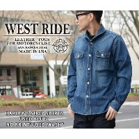 "【WESTRIDE/ウエストライド】シャツ/HARLEY'S SHOP SHIRTS USED BLUE1 NO PRINT""USED WASH""★REALDEAL"
