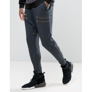 ASOS エイソス Drop Crotch Joggers With Zips In Dark Blue