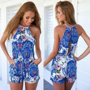 Women s Sleeveless Floral Playsuit Bodycon Party Dresses Jumpsuit Romper