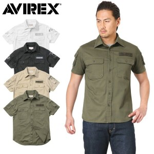 10%OFFクーポン対象品!AVIREX アビレックス 6175093 S/S FATIGUE カーキ シャツ《WIP》