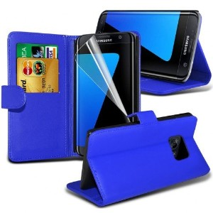 Samsung Galaxy S7 Edge Leather Wallet Case Cover (Blue) Plus Free Gift, Screen Protector and a...