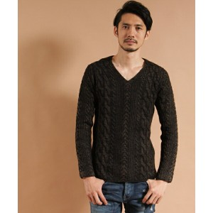 【VADEL(バデル)】cable knit cable V-neck knit ニット