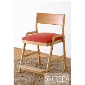 ISSEIKI DESK CHAIR デスクチェア 選べるカラー 幅45 (NA/WH+RED) 木製家具 【FI-77-1】