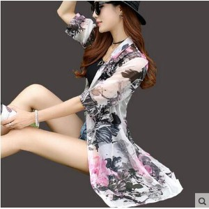 Beach sunscreen chiffon print cardigan shawl air conditioning shirt jacket thin