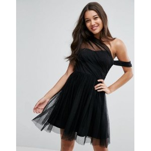 ASOS エイソス Dobby Mesh One Shoulder Mini Prom Dress ドレス ワンピース