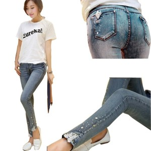 New Maternity Jeans Spring Autumn Fashion Rhinestones Denim Trousers Pregnant Clothing Belly Elastic