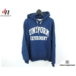 【未使用品】 15AW uniform experiment INDIGO SHEEP BACK ARCH LOGO PULL OVER HOODY ロゴ パーカー 【中古】 DN-2007