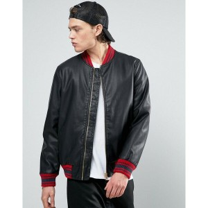 エイソス メンズ ジャケット&ブルゾン アウター ASOS Faux Leather Bomber Jacket With Contrast Rib In Black Black