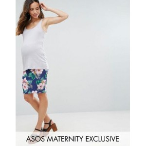 ASOS エイソス Maternity マタニティ Over The Bump Midi Skirt スカート In Floral Print