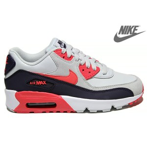 NIKE AIR MAX 90 LTR GS 833376-005 PURE PLATINUM/EMBER GLOW-PURPLE DYNASTYナイキ エア マックス 90 レザー GS...