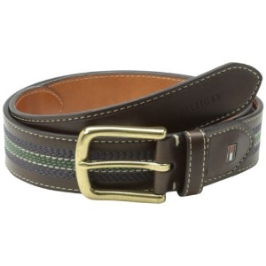 Tommy Hilfiger Mens Casual Belt with Center Stripe Stitch Detail Brown