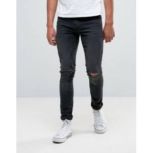 ASOS エイソス Super Skinny スキニー Jeans パンツ With Knee Rips In Dark Grey Wash