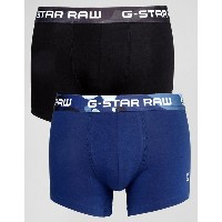 ジースター メンズ 靴下 アンダーウェア G-Star Raw Trunks In 2 Pack With Camo Waist Band Multi