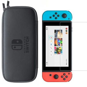 Hard Travel Protective Pouch Bag with HD Tempered Glass Screen Protector For Nintendo Switch
