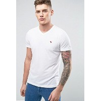【Abercrombie & Fitch】 アバクロ メンズ V Neck T-Shirt Muscle Slim Fit Moose Logo In White ホワイト Tシャツ ブイネック...