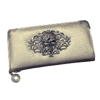 (Lonson) Lonson Women Clutch Handbags Punk Skull Head Rivet Long Leather Purse Wallet Bag