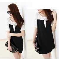 Women&#x27 s Fashion Style Splicing Color Chiffon Ladies Short Sleeve Summer Dress Mini Dress