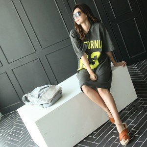 [zoozoom] Lettering washing cotton dress 3color / 23623