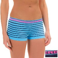 RBX RBX レディース インナー パンティー【Seamless Panties - 2-Pack, Boy Short 】Blue Stripe Navy Pink